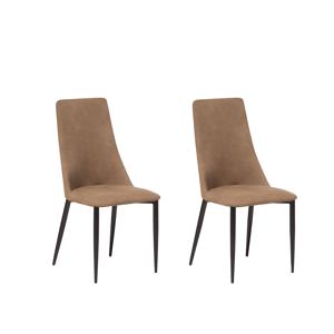 Conjunto de 2 cadeiras de refeição - Marrom dourado - CLAYTON