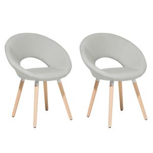 Conjunto de 2 cadeiras estofadas cinzento claro ROSLYN