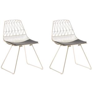 Conjunto de 2 cadeiras em metal dourado - HARLAN