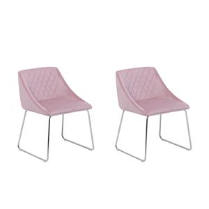 Conjunto de 2 cadeiras de veludo rosa ARCATA