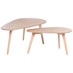 Conjunto de 2 mesas de centro em castanho claro com preto FLY III