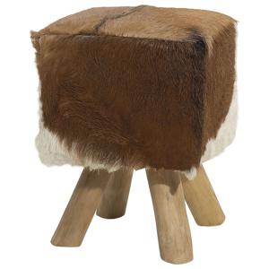 Banco de madeira e pele de cabra - Repousa-pés - DALTON