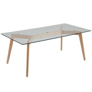 Mesa de centro - Pés em madeira - Tampo de vidro - HUDSON