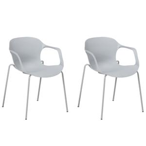 Conjunto de 2 cadeiras de jantar, cor cinza - ELBERT