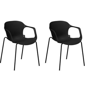 Conjunto de 2 cadeiras de jantar, cor preta - ELBERT