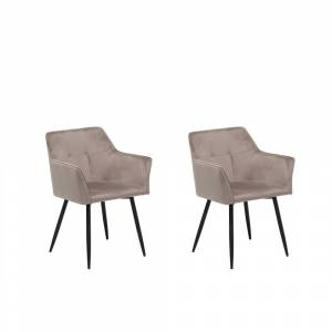 Conjunto de 2 cadeiras de veludo bege-cinza JASMIN
