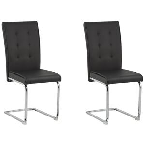 Conjunto de 2 cadeiras de jantar em pele sintética preta ROVARD