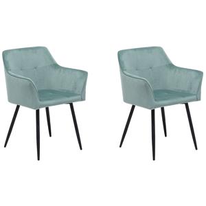 Conjunto de 2 cadeiras de veludo verde menta JASMIN