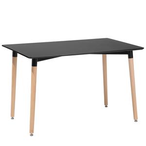 Mesa de refeição preta com pés de madeira 120 x 80 cm FLY