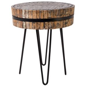 Mesa de café em madeira - Mesa lateral redonda - TAKU