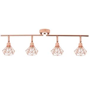 Candeeiro de teto em metal cobreado para 4 lâmpadas ERMA