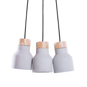 Conjunto original de 3 candeeiros em betão e madeira de pinho
