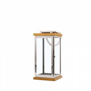 Lanterna decorativa prateada com madeira clara BORNEO