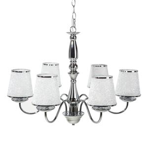 Lustre em metal cromado prateado com 6 fontes de luz BRADANO