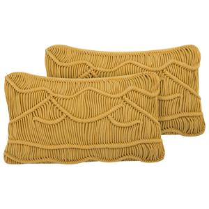 Conjunto de 2 almofadas decorativas amarelas 30 x 50 cm KIRIS