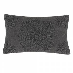 Almofada decorativa em cinza escuro 27x45 cm VELOOR