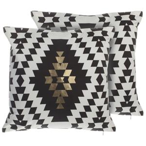 Conjunto de 2 almofadas decorativas pretas e douradas 45x45 cm COLEUS