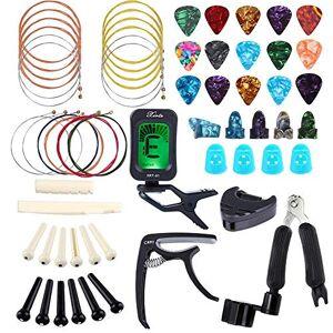 Bosunny 60 PCS Kit de Accesorios de Guitarra que Incluye Pas Para Guitarra,Capo,Afinador,Cuerdas para Guitarra Acstica,3 en 1 Cuerda de Cuerda,Pasadores de Puente,Protector de Dedos