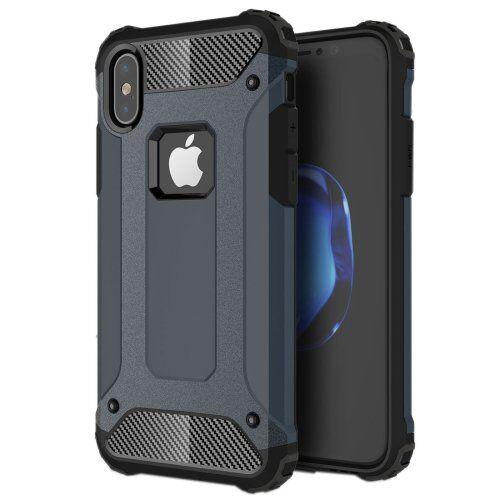 0dda4a34a64 alsatek – Carcasa de Protección de plástico para iPhone X/XS Azul Oscuro