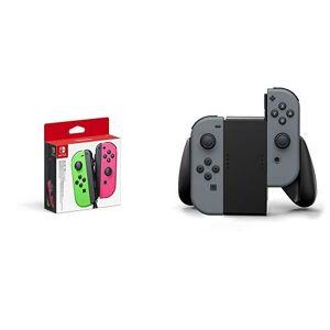 Nintendo - Set De Dos Mandos Joy-Con, Color Verde Neón / Rosa Neón (Nintendo Switch) &  Switch Joy-Con Comfort Grip, Negro