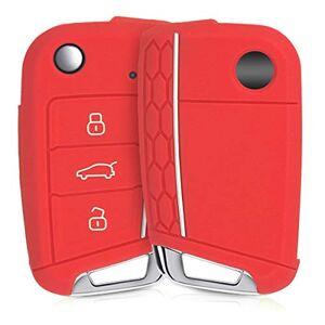 kwmobile Funda de Silicona para Llave de 3 Botones para Coche VW Golf 7 MK7 - Carcasa Protectora Suave de Silicona - Case Mando de Auto Rojo/Blanco