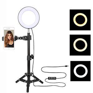 TRONMA 16cm LED Luz Anular con Soporte Ajustable para Trípode y Abrazadera de Soporte para Teléfono para Reproducción en Vivo Selfie Youtube Video con 3 Modo Luces,11 Niveles de Brillo
