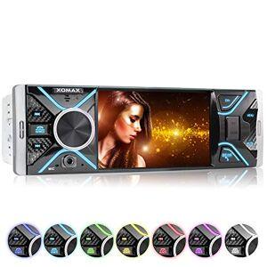 """XOMAX XM-V417 Radio de Coche con Pantalla de 4.1"""" / 10 cm I Bluetooth   USB, SD, AUX   RDS   Conexiones para cámara de Marcha atrás y Mando a Distancia del Volante I 7 Colores de iluminación   1 DIN"""