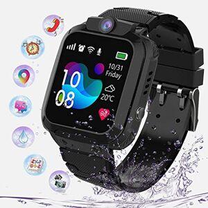 PTHTECHUS Niños Smartwatch Impermeable, Reloj Inteligente Phone con LBS Tracker SOS Chat de Voz Cámara Despertador Juego Cálculo para Regalos Estudiantes Compatible con iOS Android, (Negro)