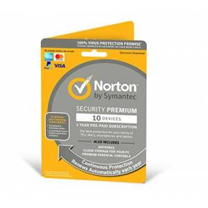 Symantec Norton Security Premium 2019  10 Devices   1 Year   Antivirus Included   PC/Mac/iOS/Android   Activation Code by Post