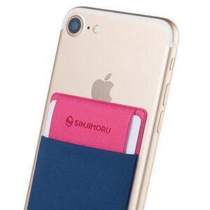 Sinjimoru Funda ultradelgada engomada para Tarjetas o Dinero, diseñada para teléfonos Inteligentes iPhone y Android. Sinji Pouch Flap, Azul Marino.