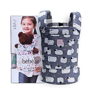 bebear Bebamour Portabebs de algodn para nias Accesorios para muecos de beb Juguetes para nios Mueca Bolsa 3 en 1 Portabebs Sling Mueca Baby Garabatos, Gris Prpura con Ovejas (Gris)