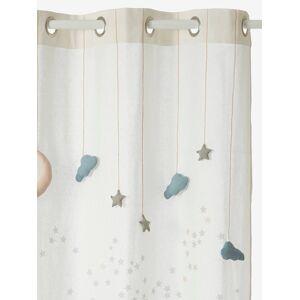 Cortinado translúcido, tema Como uma estrela branco liso com decoração