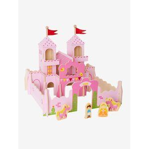 VERTBAUDET Castelo de princesa em madeira e as suas personagens rosa liso com decoração