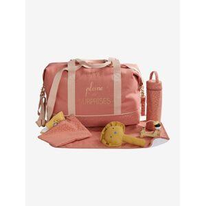 Saco de mudas week-end com estampado La vie est pleine de surprises rosa claro liso com motivo