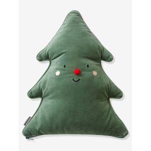Almofada personalizável em forma de árvore de Natal verde escuro liso com motivo
