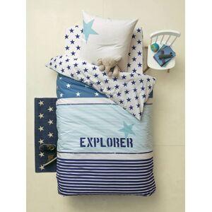 Conjunto capa de edredon + fronha de almofada, tema Explorer azul/ cru