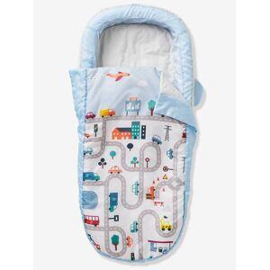 Saco-cama Readybed® com colchão integrado e cabeceira, tema AUTO-CITY azul claro liso com motivo