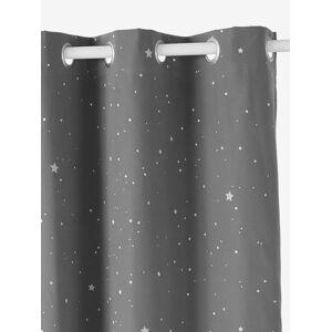 Cortina opaca com detalhes fosforescentes, Estrelas cinzento escuro estampado