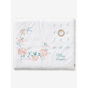Tapete cenário para fotografias de bebé, Eau de Rose branco claro liso com motivo