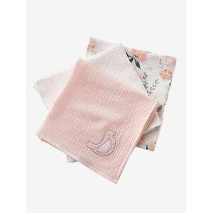 Lote de 3 fraldas, Eau de Rose rosa claro liso com motivo