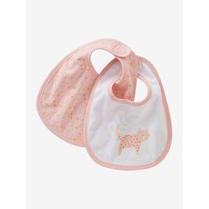 Lote de 2 babetes para recém-nascido, Mini zoo rosa claro estampado