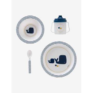 Conjunto de refeição, 4 peças, para bebé da VERTBAUDET, sem BPA azul escuro as riscas
