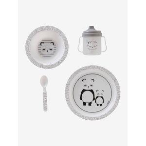 Conjunto de refeição, 4 peças, para bebé da VERTBAUDET, sem BPA cinzento medio as riscas