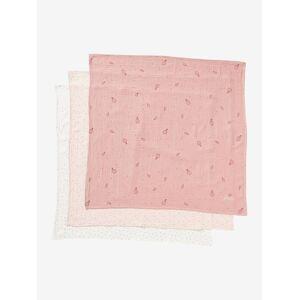 Lote de 3 fraldas em gaze de algodão rosa medio estampado