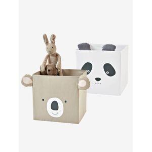 Lote de 2 caixas em tecido, Panda koala bege medio liso
