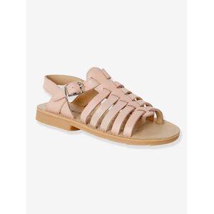 Sandálias em pele, para menina rosa claro liso