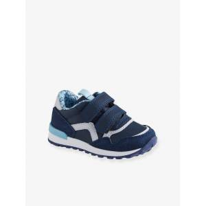 Sapatilhas com barras autoaderentes, estilo running, para bebé menino azul escuro liso