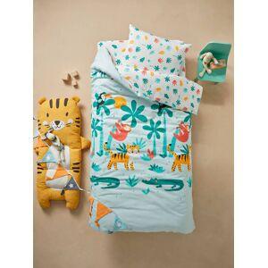 Conjunto capa de edredon + fronha de almofada para criança, tema Crocodilos branco claro liso com motivo