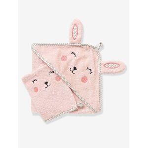 Capa de banho para bebé com capuz com bordado animais rosa