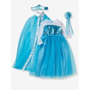 VERTBAUDET Disfarce de princesa com capa, varinha e coroa azul medio liso com motivo